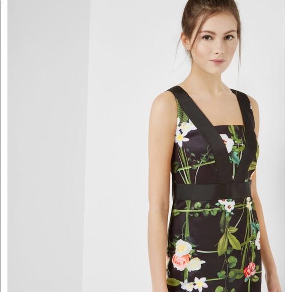 5fa2329e80f9b5 Ted Baker  Kacied  Black Floral Midi Dress TB3 US8